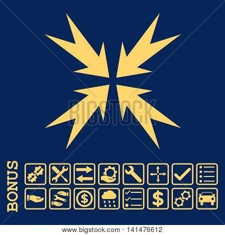 Compression Arrows icon with bonus pictograms. Glyph style is flat iconic symbol, yellow color, blue background. Bonus style is square rounded frames with symbols inside.