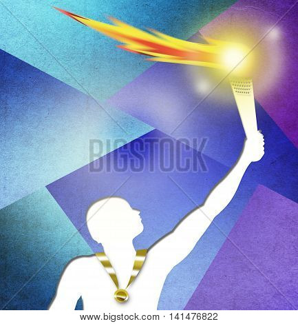 Artistic Drawing of an Athlete with Gold medal holding a torch proudly