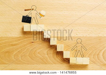 drawn people on the highest and lowest point of staircase inequality in society or work concept