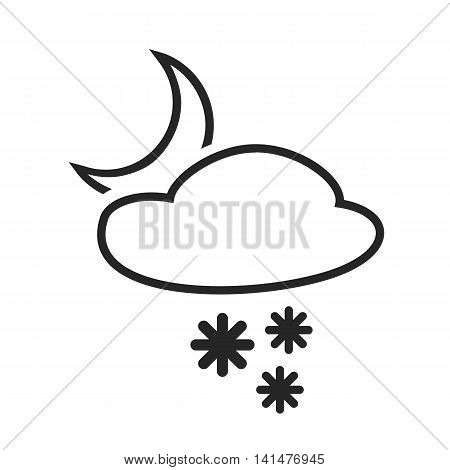 Sleet shower. Night. Heavy snow in the evening. Weather forecast icon. Editable element. Creative item. Flat design graphic. Part of series of various symbols and signs for climate changes diagnostic. Vector