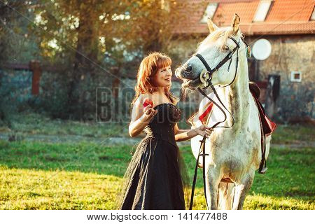 portrait attractive woman full length next horse