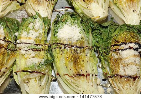 Fresh grilled organic hearts of Romaine Lettuce