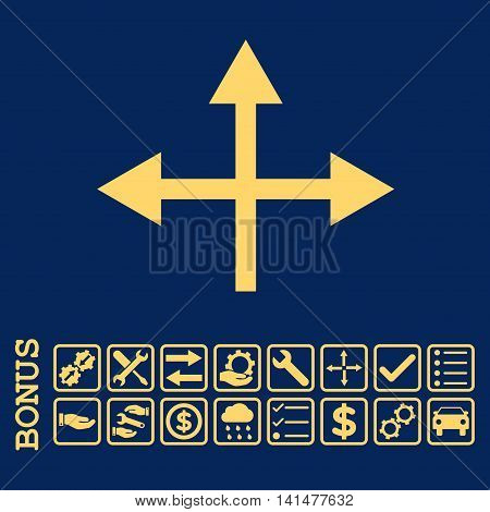 Intersection Directions icon with bonus pictograms. Glyph style is flat iconic symbol, yellow color, blue background. Bonus style is square rounded frames with symbols inside.