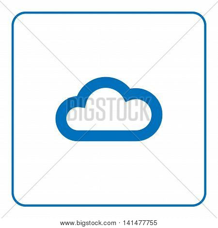 1 of 25 signs forecast weather. Cloud icon. Web cartoon sign isolated on white background. Symbol nature light cloudy. Meteorology information. Blue silhouette. Flat style design Vector illustration