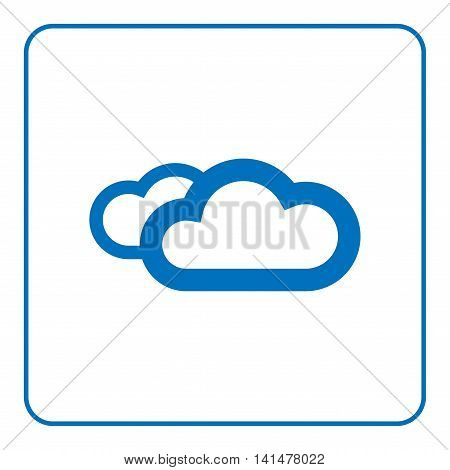 1 of 25 signs forecast weather. Clouds icon. Web cartoon sign isolated on white background. Symbol of nature light cloudy. Meteorology information. Blue silhouette. Flat design. Vector illustration