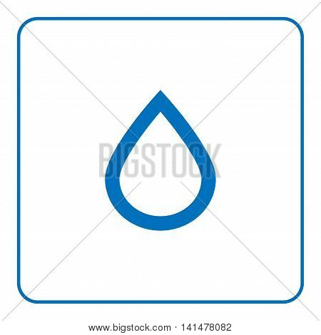 1 of 25 signs forecast weather. Water drop icon. Web cartoon sign isolated on white background. Symbol of nature rainy. Meteorology information. Blue silhouette Flat style design Vector illustration