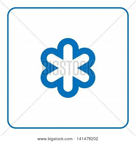 1 of 25 signs forecast weather. Snowflake icon. Web cartoon sign isolated on white background. Symbol nature winter. Meteorology information. Blue silhouette snowflake Flat design Vector illustration