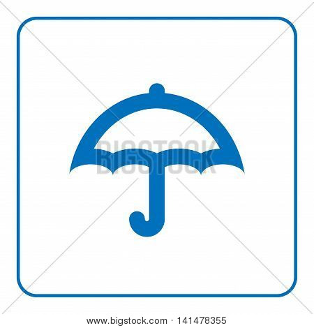 1 of 25 signs forecast weather element. Umbrella icon. Web cartoon sign isolated on white background. Symbol rain summer season. Meteorology information. Flat design silhouette. Vector illustration