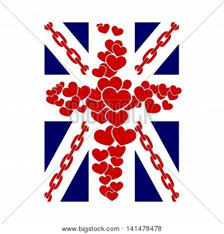 British flag t shirt typography graphics. Blue red white design with hearts chain on white background. Symbol of England Britain United Kingdom. Template apparel card poster. Vector illustration