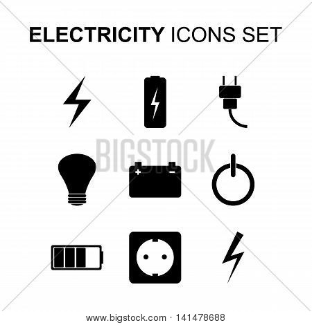 Electricity icons set. Silhouette flat design vector illustration