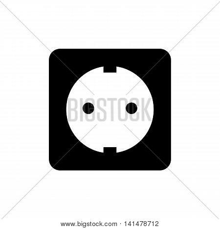 Power socket icon. Silhouette flat design vector illustration