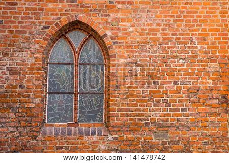 Vintage window on brick wall, close up background