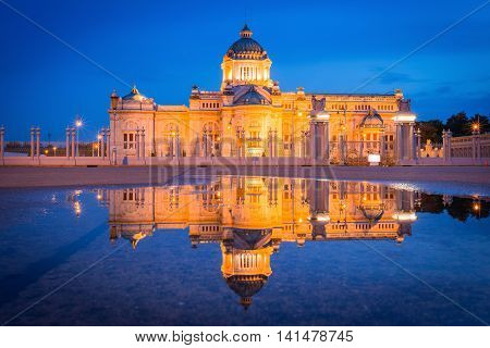 Ananta Samakhom Throne Hall called Thailand white house with reflection at twilight