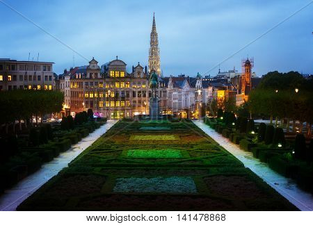 Monts des Arts and old town of Brussels cityscape at night, Belgium, toned