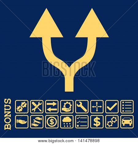 Split Arrows Up icon with bonus pictograms. Glyph style is flat iconic symbol, yellow color, blue background. Bonus style is square rounded frames with symbols inside.
