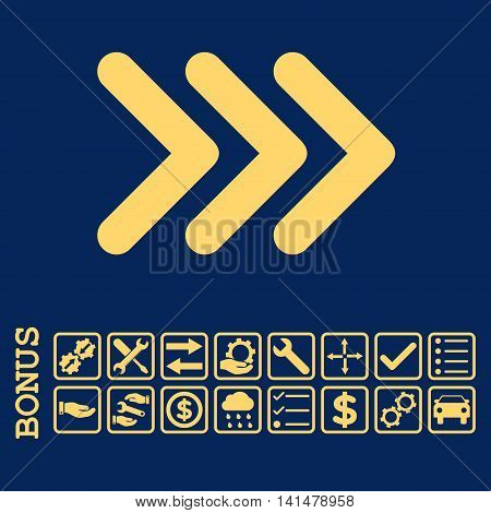 Triple Arrowhead Right icon with bonus pictograms. Glyph style is flat iconic symbol, yellow color, blue background. Bonus style is square rounded frames with symbols inside.