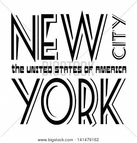 T shirt typography graphics New York. Athletic style NYC. Fashion american stylish print for sports wear. Black on white emblem. Template for apparel card poster. Symbol big city Vector illustration