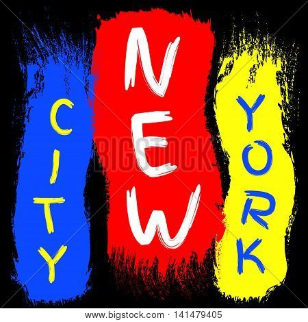 T shirt typography graphics New York. Athletic style NYC. Fashion american stylish print for sports wear. Brush stroke with text. Template apparel card poster. Symbol of big city Vector illustration