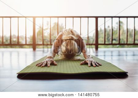 Fitness Female Performing Yoga