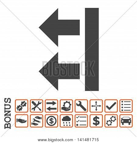 Bring Left icon with bonus pictograms. Glyph style is flat iconic symbol, orange and gray colors, white background. Bonus style is bicolor square rounded frames with symbols inside.