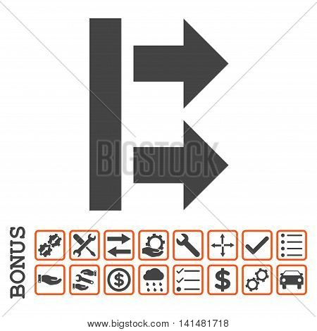 Bring Right icon with bonus pictograms. Glyph style is flat iconic symbol, orange and gray colors, white background. Bonus style is bicolor square rounded frames with symbols inside.