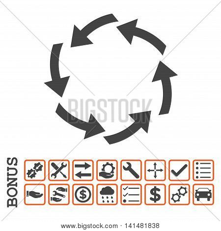 Circulation icon with bonus pictograms. Glyph style is flat iconic symbol, orange and gray colors, white background. Bonus style is bicolor square rounded frames with symbols inside.