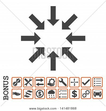 Collapse Arrows icon with bonus pictograms. Glyph style is flat iconic symbol, orange and gray colors, white background. Bonus style is bicolor square rounded frames with symbols inside.