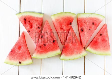 Watermelon Slice On A White Rustic Wood Background, Popular Summer Fruit With Yummy Watermelon, Flat