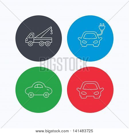 Electric car, evacuator and transport icons. Car linear signs. Linear icons on colored buttons. Flat web symbols. Vector
