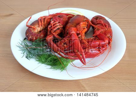 Boiled crayfish color with lemon and dill lie on a round white plate on a wooden table surface. Front view close-up