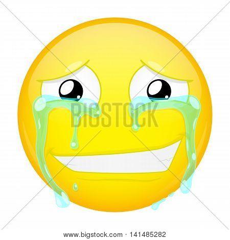 Smiling crying emoji. Smirk emotion. Grin emoticon. Vector illustration smile icon.