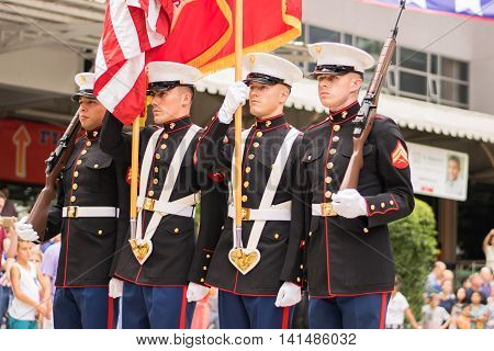Bangkok, Thailand - July 2, 2016 : Cadets marched and lined up for the Anthem Ceremony for Anual Independence Day Picnic held by the American Chamber in Thailand