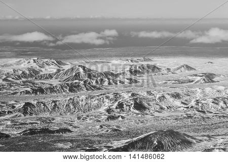 Black and White, Aerial view of showy mountains during winter, Iceland