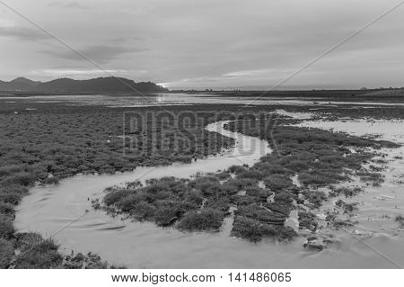 Black and White, Small water way with beautiful sky after sunset, natural landscape