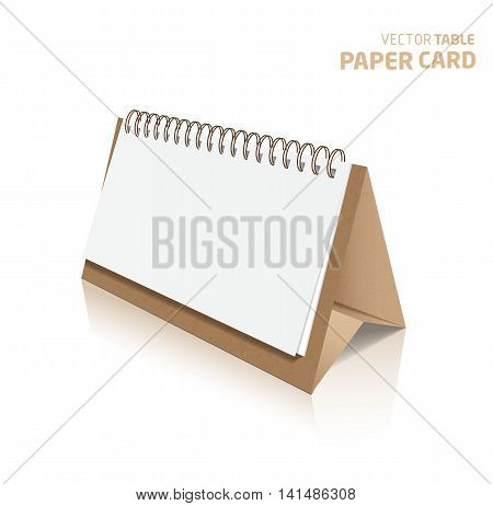 3d table paper card isolated on a grey background. Vector realistic.