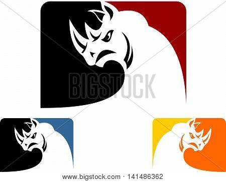 stock logo illustration rhinos multi color on box