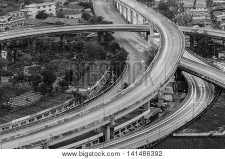 Black and White, Aerial view night lights over highway interchanged