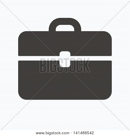 Briefcase icon. Diplomat handbag symbol. Business case sign. Gray flat web icon on white background. Vector