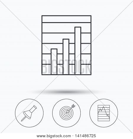 Pushpin, graph charts and target icons. Supply and demand linear signs. Linear icons in circle buttons. Flat web symbols. Vector