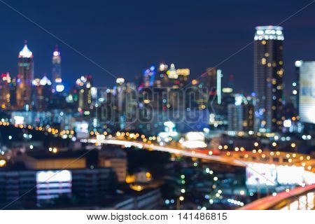 Night blurred lights, city and road downtown, abstract background