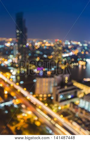 Twilight blurred bokeh city light nigh view, abstract background