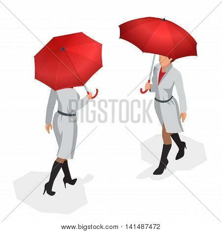 Isometric woman in autumn clothes with a red umbrella. Season autumn. Vector Flat 3d illustration