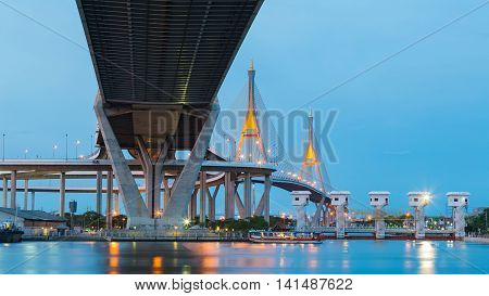 Highway and Twin suspension bridge cross over Bangkok main river, Thailand