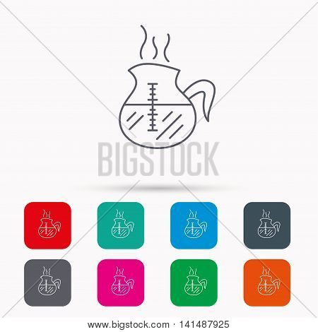 Coffee kettle icon. Hot drink pot sign. Linear icons in squares on white background. Flat web symbols. Vector