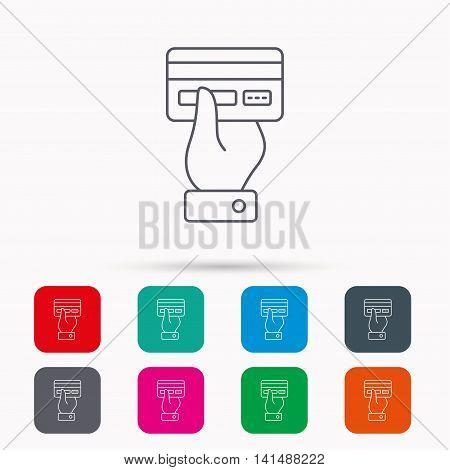 Credit card icon. Giving hand sign. Cashless paying or buying symbol. Linear icons in squares on white background. Flat web symbols. Vector