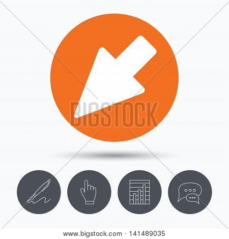 Cursor icon. Computer position marker symbol. Speech bubbles. Pen, hand click and chart. Orange circle button with icon. Vector