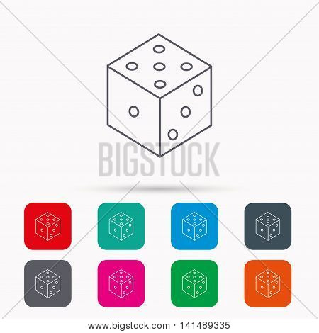 Dice icon. Casino gaming tool sign. Winner bet symbol. Linear icons in squares on white background. Flat web symbols. Vector