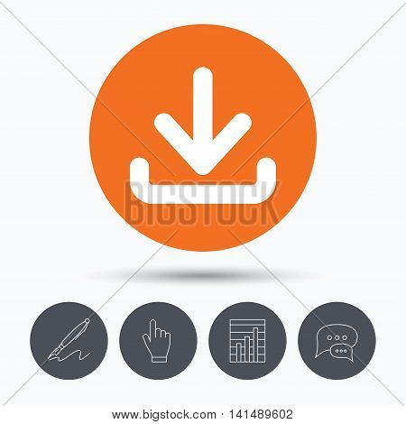 Download icon. Load internet data symbol. Speech bubbles. Pen, hand click and chart. Orange circle button with icon. Vector