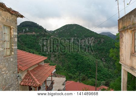 Nice view of Langadia Village and it's mountains in Greece.