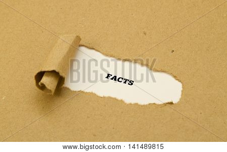 Facts word written on torn paper .
